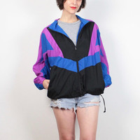 Vintage 1980s Windbreaker Jacket Black Blue Pink Sporty Asics Jacket 80s Color Block Warm Up Bomber Jacket Track Jacket Wind Breaker L Large