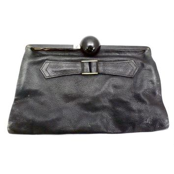 Vintage Black  Leather Clutch Purse w/ Huge Ball Clasp Art Deco 1920s