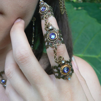 triple armor ring Swarovski  nail ring nail claw statement ring knuckle ring  goth victorian goddess pagan witch boho gypsy style