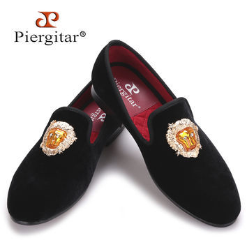 new Lions Buckle Men black and navy Velvet Shoes Prom and Banquet Loafers Smoking Slippers Men'Flats