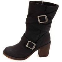 Dollhouse Belt-Wrapped Chunky Heel Mid-Calf Boots - Black