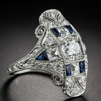 Antique Style Art Deco Large 925 Cubic Zirconia Jewelry Sterling Silver Imitation Blue Sapphire & Diamond Ring Bride Wedding Eng