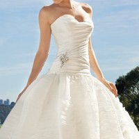 Satin and Organza Long Gown by Sophia Tolli