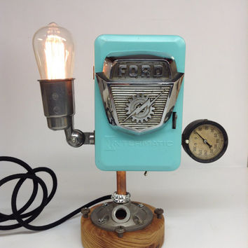 Vintage 1957 Ford F100 Emblem Lamp Light Antique Car Truck Reclaimed Industrial  Art Deco Lighting Reclaimed Man Cave Minimalist