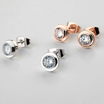 Real Italina Stud Earrings for women  Austrian Crystal 18K Gold Plated   New Sale Hot Brand # RG881142White