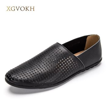 Men Genuine Leather Driving Moccasin shoes solid flats Breathable hollow Men Casual Shoes