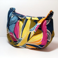 Purse - Womens Handbag - Floral - Navy Blue Pink Yellow - Zippered Purse - Pleated Purse