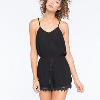 Flying Tomato Battenburg Womens Romper Black  In Sizes