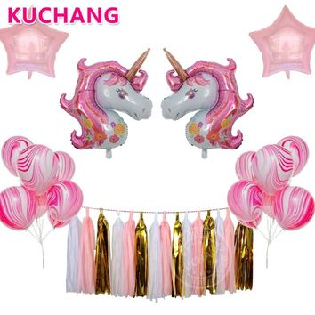19pcs/lot Pink Purple Unicorn 18inch Pearl Foil Stars Marble Latex Balloons Tissue Tassel Garland for Birthday Party decorations