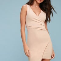 So Seductive Nude Sleeveless Bodycon Wrap Dress