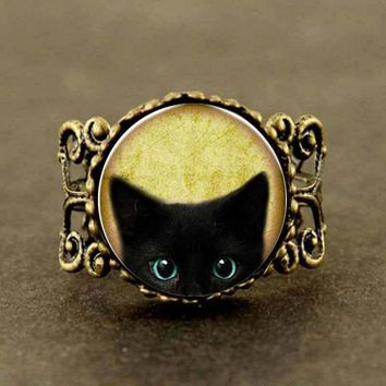 Alice In Wonderland Vintage black cat glass ring personality Art picture women men jewelry hot selling
