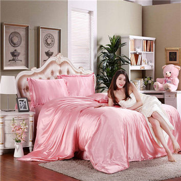 Silk bedding set home textile bed linen set clothing of bed bedcloth soft silky bedding full queen king size