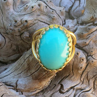 Turquoise Gold Ring, Turquoise and Gold, Turquoise Jewelry, Filigree Bezel Set Blue Green Boho Bohemian Ring, Gold Adjustable Band Unique