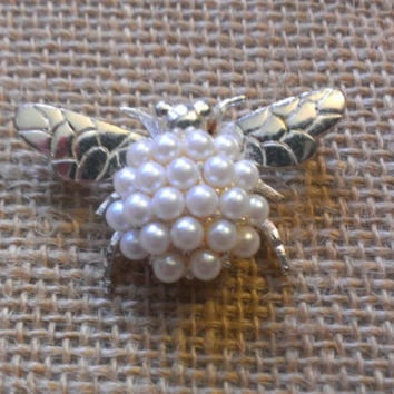 Napier Brooch Pin Authentic Signed Silver with Faux Pearl Bug Bee Insect Excellent Condition Rare Vintage Mother's Day Easter Nature Insect
