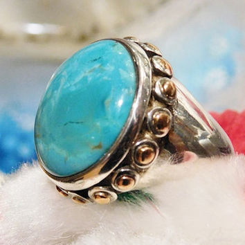Barse Turquoise Ring Sterling Silver Statement Modernist Vintage Ring Southwestern Western Gemstone Gem BOHO Bold Chunky Turquoise Copper