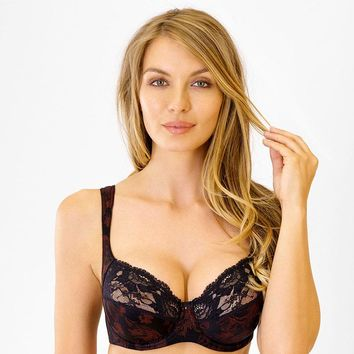 Delicate Lace Full Figure Bra Rosme Mysterious Rose