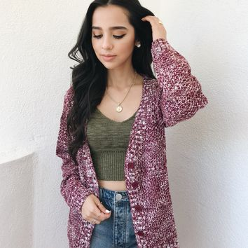 SALLY CARDIGAN- BURGUNDY