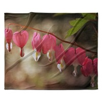"Angie Turner ""Bleeding Hearts"" Pink Flower Fleece Throw Blanket"
