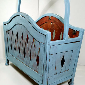 Cottage Painted Magazine Rack Blue Vintage Distressed Chippy News Rack Beach French Coastal Country Decor Chalk Paint Style