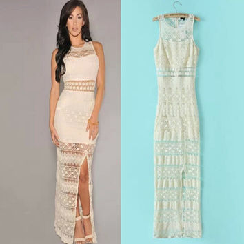 Summer Knit See Through Mosaic Split Slim Lace Dress Sea Vacation Prom Dress [6514013895]
