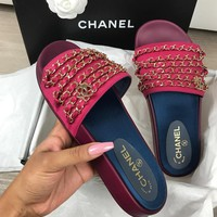 Chanel shoes, new 17 Spring Chain slippers, silk and SATIN SANDALS