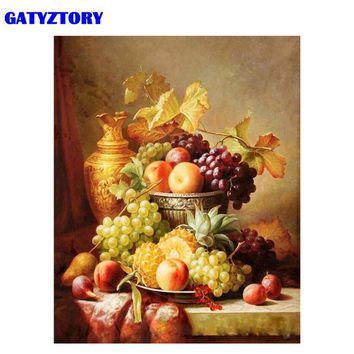 GATYZTORY Frame Fruits DIY Painting By Number Modern Wall Art Handpainted Oil Painting Acrylic Paint On Canvas 40x50cm Artwork