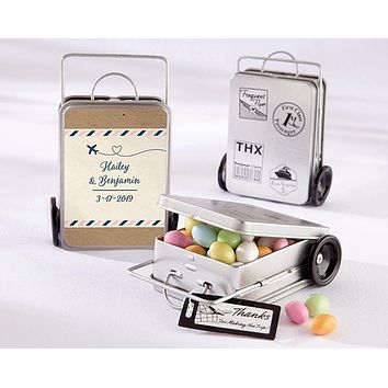 Personalized Suitcase Favor Tins - Travel and Adventure (Set of 12)