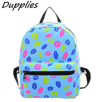 Dupplie Cartoon Printing Canvas Backpacks Mini School Bags For Teenage Girls Backpack Women School Shoulder Bags Small Women Bag