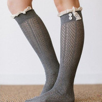Gray Boho Boot Socks Crochet Lace Button Top Chevron Weave Knee High