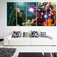 iron man Avangers wall art canvas print, large wall art canvas, framed, nursery wall decor, teens bedroom wall art, art for kids room 10m98