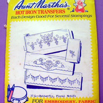 "Aunt Martha's ""Butterfly, Floral Motifs"" Hot Iron Transfer Pattern 3734 for Embroidery, Fabric Painting, Needle Crafts"