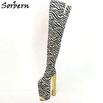 Sorbern Zebra Thigh High Winter Boots Platform Exaggerated Sexy Fetish Shoes Ladies Rivet Chunky Heeled Crotch High Boots 34-46 Macchar Cosplay Catalogue