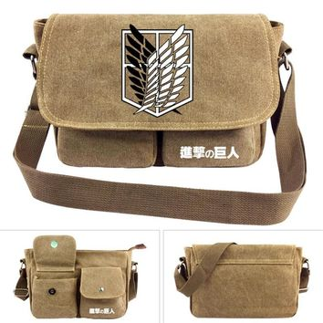 Cool Attack on Titan  Japan Anime Cross body Bag Men Women Boys Girls Messenger Bags Canvas Shoulder Bag Cartoon  School Book Tote AT_90_11