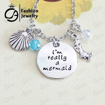 *I am really a mermaid Inspired Pendant Necklace Christmas Gift Jewelry #LN1173
