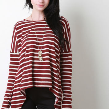 Handkerchief Hem Striped French Terry Top