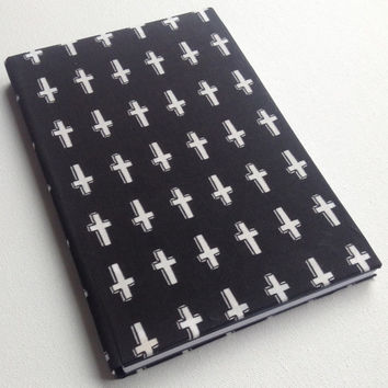 Cross pattern symbol black inverted cross blank paged journal 160 pages 5.5X8.5
