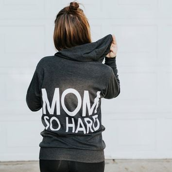 Mom So Hard Lightweight Zip-Up Hoodie - Charcoal with White Print (PREORDER)