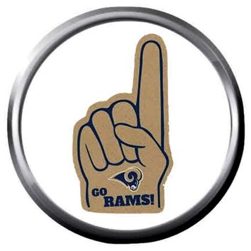 NFL Superbowl LA Rams Finger No 1 Football Fan Logo 18MM-20MM Snap Jewelry Charm New Item