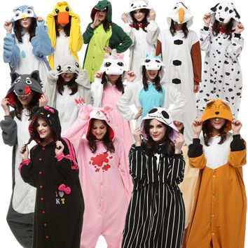 Adults Halloween Costumes Onesuit Pajamas Wolf Seal Jack Skellington Unicorn Gloomy Owl Olaf Monkey Fox Duck Dog Chi Cat Kitty