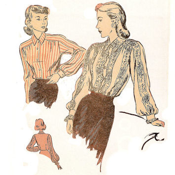 Duart 2310 Long Sleeve Lace Blouse Vintage 1930 Sewing Pattern Factory Fold Featured Ladies' Home Journal Active Size 12 Bust 30