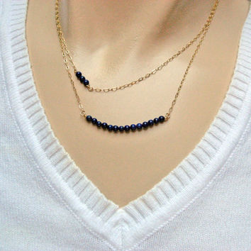 Lapis Lazuli Bar Necklace , Stone Bar Necklace, 14k Gold Fill or Sterling Silver, Layering Necklace , Multi Strand Necklaces, Jewelry Set