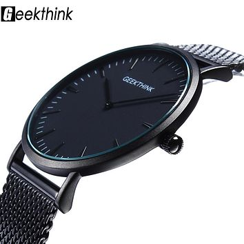 Top Brand Luxury Quartz watch Casual men Black Japan quartz-watch stainless steel Mesh strap ultra thin clock male 2017 New