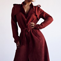 Marsala New Hampshire Suede Trench