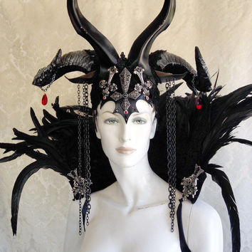 Demon / Vampire / Wicked Queen Headdress - Leather, Horns, Crosses, Crystals and Chains