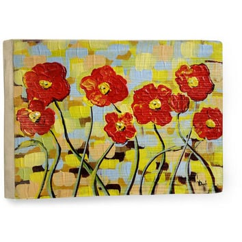 Ruby Poppies by Artist Danlye Jones Wood Sign