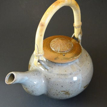 Handmade ceramic teapot, Rustic Celadon stoneware teapot with cane handle, father's day gift