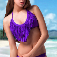 Purple Tassels Front Halter Swimsuit