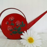 Mid Century Round Red Metal Watering Can with Toleware Flowers - Vintage Retro Rustic Metal Houseplant Water Can Holds Water Without Leaks