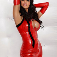 EMILY Sleeveless Corsetted Latex Catsuit