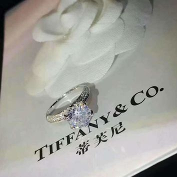 Tiffany Classic 925 sterling silver plated pt950 platinum layer 3 carat  diamond ring df01133017a0